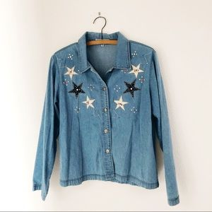 Vintage denim button up star beaded western shirt